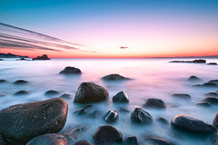The Silence Sea (-TommyTsutsui- [nextBlessing]) Tags: longexposure blue winter light sunset sea orange seascape beach nature rock japan landscape nikon purple dusk magic tide scenic shore      izu toi   sigma1020  thepowerofnow onsalegettyimages