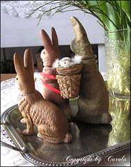 3 bunny friends (Boxwoodcottage) Tags: bunny bunnies vintage easter march candy decoration rabbits containers 2012 marolin boxwoodcottage