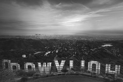 the other side of Hollywood (Andy Kennelly) Tags: california above city bw sign other los downtown view angeles side games hills hunger hollywood backwards behind premiere