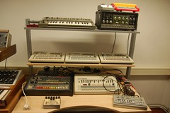 The techno corner (allert) Tags: vintage studio roland synthesizer tr808 sh101 tb303 tr909 re201 tr707 tr727 sonartraffic
