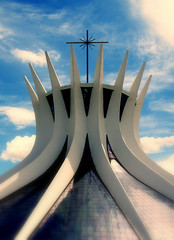 Brasilia Niemeyer Metropolitan Cathedral (RioParadiso Studio) Tags: city blue cidade brazil urban color building church glass colors arquitetura brasil architecture modern landscape concrete photography oscar cathedral capital catedral architeture brasilia urbanismo magicalskies nyemyer flickrstruereflection1