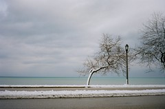 Lake Michigan (nothing is ever the same) Tags: winter snow film 35mm march kodak rangefinder lakemichigan milwaukee lakepark 2012 revue unseasonablywarm goforawalk ektar100 revue400l revuenonf28