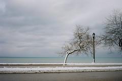 Lake Michigan (nothing is ever the same) Tags: winter snow film 35mm march kodak rangefinder lakemichigan milwaukee lakepark 2012 revue unseasonablywarm goforawalk ektar100 revue400l revuenonf28