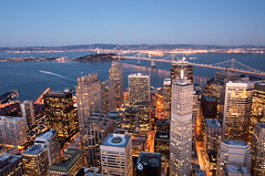 Above San Francisco (danielpivnick) Tags: sanfrancisco california longexposure sunset ferry night landscape bay office treasureisland officebuilding baybridge highrise bayarea eastbay mtdiablo luminous yerbabuenaisland bofabuilding carnelianroom 555californiastreet