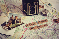 life in letters (AmyJanelle) Tags: world travel vintage words map antique scrabble brownie oldphotographs twine roadmap pocketwatch browniecamera seetheworld scrabbleletters scrabblepieces