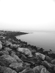 (alorollo) Tags: sea blackandwhite landscape photography coast rocks personal calm coastline 365