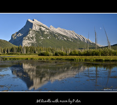 Mt Rundle with moon (pDOTeter) Tags: trees moon mountain canada reflection landscape nikon banff mountrundle rundle mtrundle d90 vermilionlakes tinymoon vermilionlake