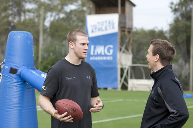 Texas A&M QB RYAN TANNEHILL talks with IMG Performance Institute Mental Conditioning Coach Dr. Angus Mugford