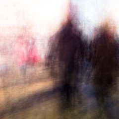 Dagens foto - 135: Run (petertandlund) Tags: city longexposure winter shadow red woman snow man color silhouette square shadows sweden stockholm dream streetphotography dreamy 365 sthlm 08 slowshutterspeed kungstrdgrden norrmalm silverbullit 135365 intentionalcameramovement