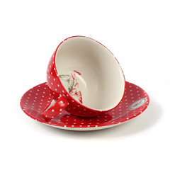 Ness Teacup and Saucer in Red Spot (NessByPost) Tags: coffee pepper milk pretty tea salt shaker teapot coffeemug printed saucer ness butterdish crockery butterbell