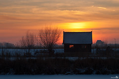 The Sky on Fire (BraCom (Bram)) Tags: sunset snow tree ice reed window netherlands silhouette barn zonsondergang sneeuw nederland boom explore riet kinderdijk raam silhouet ijs schuur zuidholland coth bracom