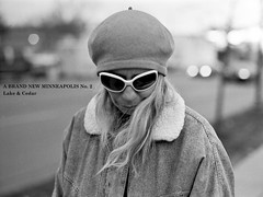 city portrait urban blackandwhite bw woman film sunglasses analog vintage mediumformat diy grain minneapolis retro ilfordhp5 analogue lakestreet cedaravenue streetportraiture mamiya6451000s mamiyasekorc80mmf19 100strangers abrandnewminneapolis