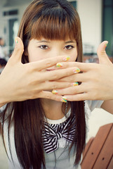 Eyes On Me (clazirus) Tags: white girl smile hair model eyes colorful vietnamese nail perky d60 unohu clazirus