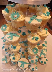 Wedding cupcake tower Holdsworth House (Cupcake Creations by Cassandra) Tags: flowers wedding giant cupcakes lemon pics teal pearls cupcake vanilla bows