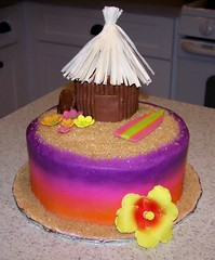 Tiki (Joy of Cake) Tags: flower beach cake sand luau surfboard tiki hawian