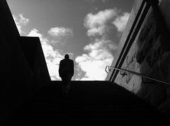 Up. (Sascha Unger) Tags: light shadow people blackandwhite bw art monument silhouette wall stairs germany underground licht perspective leipzig menschen treppe sascha sw sonne schatten perspektive mauer iphone vlkerschlachtdenkmal pictureshow schwarzweis coolfx sascha2010 saschaunger irisphotosuite