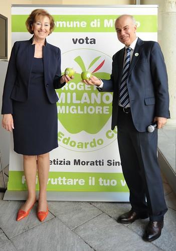 """Edoardo Croci con Letizia Moratti alla presentazione di """"progetto Milano migliore"""", maggio 2011"""