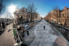 The canals in Amsterdam (A r l e t t e (reloaded)) Tags: winter cold ice amsterdam canal hdr gracht ijs