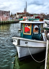 Annapolis Waterfront (` Toshio ') Tags: road street city building history water car architecture clouds harbor boat mainstreet cityscape fuji capital maryland capitol historical tug annapolis hdr highdynamicrange toshio x100