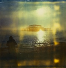 love like a sunset (marion (milky soldier)) Tags: sunset shadow sea simon love phoenix polaroid sx70 ruins brighton timezero