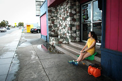 I don't know. (Madeline K.) Tags: blue orange color green rain yellow sitting bowlingalley sixties