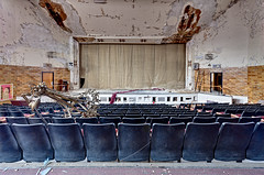 Falling Fixtures (eholubow) Tags: lighting school urban abandoned theater decay stage curtain fallen mann fixture auditorium horace