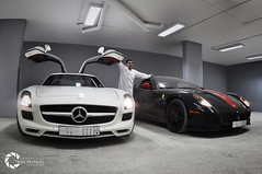 Ferrari 599 GTO & Mercedes-Benz SLS AMG [Explored] (Tareq Abuhajjaj | Photography & Design) Tags: light red sky bw orange moon white black green cars car sport yellow night race speed dark photography lights design photo high nice nikon flickr nissan power top wheels fast gear ferrari turbo mercedesbenz saudi arabia gto manual carbon fiber rims riyadh v8  sls amg 2010 v12 ksa  070 599 tareq  d90        d700      foilacar tareqdesigncom tareqmoon tareqdesign  abuhajjaj