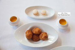 Amuse bouches - Pimento cheese macarons, shots of sweet potato soup, gougeres (thewanderingeater) Tags: atlanta dinner georgia buckhead finedining restauranteugene