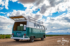 Spring in Phoenix (Eric Arnold Photography) Tags: arizona sky bus classic phoenix vw clouds rural vintage volkswagen cloudy deluxe az farmland luggage land hatch van roofrack type2