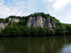 P5270611 (photos-by-sherm) Tags: trees rock river germany boat spring ship tour danube narrows formations