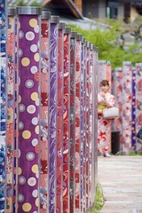 The Kimono Forest at Arashiyama Station, Kyoto (nigel@hornchurch) Tags: station japan forest kyoto tram line textile arashiyama kimono morita randen yasumichi dsc0733 yasumichimorita ukyokukyoto kimonoforest