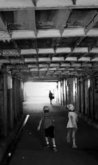 A tunnel under many railroad tracks,Tokyo  Hamamatsu-cho. (sapphire_rouge) Tags: shore   seaside   japanese   tokyobay coast japan bay boy  tunnel hamamatsucyo  aoumi    wangan rinkaihukutoshin kotoku
