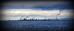 Industrial skyline (Sacule) Tags: ocean travel blue sea panorama japan port canon industrial widescreen smoke panoramic pollution area nippon vignette contamination beppu 600d sigma1770 ita kyushuisland