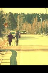 Speed Limit 70 (StarlightHope) Tags: road street shadow people car sign walking traffic walk number lamppost bil trafficsign skylt promenad allys väg skugga nummer lyktstolpe trafikskylt