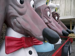 Doggie Diner Mascots (davitydave) Tags: sf sanfrancisco california urban mobile landscape hotdog treasureisland military bowtie icon dachshund mascot bayarea doggiediner sfist