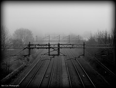 Misty railway B&W. (Ben Cox Photography) Tags: morning mist misty fog foggy railway berkhamsted railings trainlines
