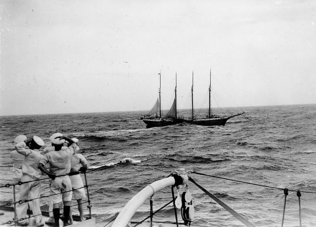 Feb. 9, 1935, HMAS AUSTRALIA [II] assists American broadcast schooner SETH PARKER - NHSA.