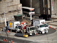 Port Authority Emergency Tow Vehicles, Lincoln Tunnel Entrance, New Jersey (jag9889) Tags: bus cars truck newjersey view nj entrance tunnel aerial maintenance vehicle emergency tow towing lincolntunnel portauthority weehawken hudsoncounty