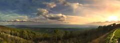 Talimenorama (wanderlovemedia) Tags: camping trees sunset wild sky panorama sun mountains color oklahoma nature clouds america forest canon landscape eos pretty view stitch vibrant scenic scene jungle vista southeast byway talimena talihina 60d talimenorama