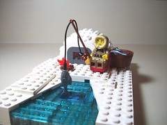 Ice Fishing 1 (PurpleSprout458) Tags: fishing fisherman lego ie vignette igloo minifigure moc sereis5