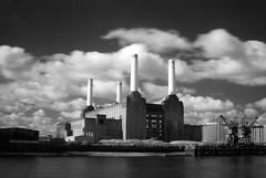 Battersea (Tawny042) Tags: city uk urban blackandwhite london station thames river power infrared battersea lovelycity