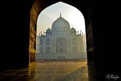 the Taj glistenes in the soft morning beams...