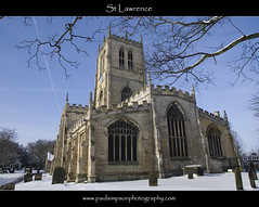 St Lawrence (side view) (Paul Simpson Photography) Tags: uk winter england snow cold tower church religion freezing bluesky graves stlawrence hatfield tees southyorkshire tobs photosof brightweather february2012 paulsimpsonphotography