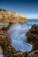 Praia da Abandeira,Lagoa (_Rjc9666_) Tags: sea seascape color praia beach portugal nature rock landscape nikon wave paisagem coastline algarve 441 18 cor ondas nikon1855 d5100 ruijorge9666