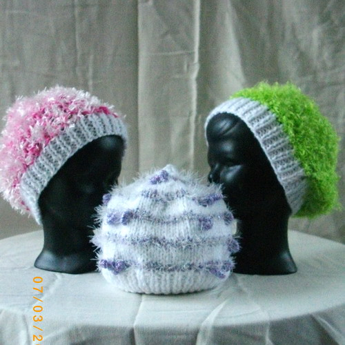 974fd53f8a8 Three handknit hats for baby (Elvinqueen) Tags  pink baby white green hat  women