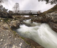 Quoich Water (P2179478) footbridge closed (Mel Stephens) Tags: water waterfall longexposure aberdeenshire scotland uk 2012 stitched panoramic long ptgui olympus exposure le gps geotagged 201202 winter quoich q1
