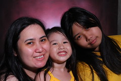 me and my girls (my scene junkie) Tags: family baby smile bonding redbackground portraitphotography portraitshot dollcollector