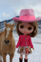 """BPC#51  """"Say Something"""" Hat Day (obsessivelystitching - StitchWhipped) Tags: horse mountain snow cowboy blythe cowgirl cowboyhat challenge physical bpc saysomethinghatday dollsoutdoors middieblythe littlelilybrown bpc51"""