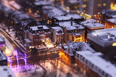 Snowy Purple Hour in Fashionable Mini-District (Katrin Ray) Tags: longexposure winter urban snow toronto ontario canada night canon lights golden colours purple toyland tiltshift canonphotography photoshoptiltshift tilfshift dreamscapesoftoronto katrinray happyminiaturesunday miniaturestyle digimagic projectweather toyrontolife semidetachedhousesonchurchstnorthofdundonaldst toymansions earlybluehour snowypurplehourinfashionableminidistrict puprlehour