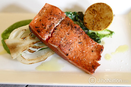 Pan Seared Salmon with Grilled Bok Choy & Roasted Lemon - 07